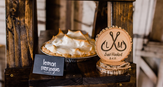 Slice of Humboldt Pie | Northern California Wedding Desserts | Pie at Weddings | Just Hooked |  Wooden Wedding Sign | Lemon Meringue