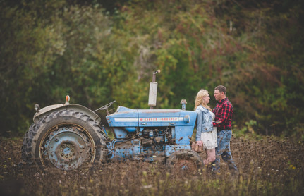 Country Engagement Photo Shoot | Outdoor Engagement Session | Cowgirl Cowboy | Tractor | Seattles Best Wedding Photographer | Couples Posing | Hood River Photographer | Oregon Bride | Country Wedding | Fall Photo Shoots | Ford Tractor