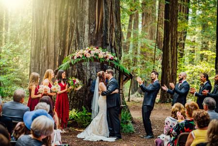 Mendocino County California Wedding | Redwood Wooded Wedding | Pronovia Bridal | Lace Wedding Dress | Destination Wedding Photographers | Seattle Wedding Photographers | Benbow Inn | Wedding Ceremony | First Kiss | Magical Wedding Moments