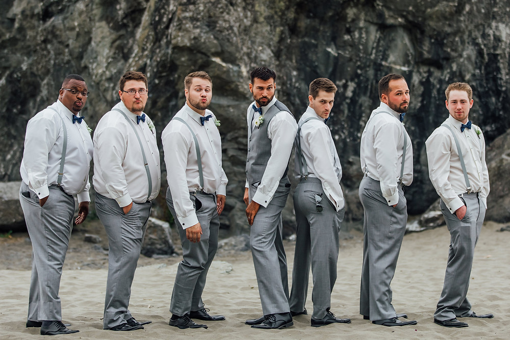 Trinity Tree Farm, Tacoma Washington, Tacoma Wedding Venues, Tacoma Wedding Photographer, Seattle Wedding Photographers, Snohomish Wedding, Groomsmen posing, Zoolander, Seattle Bride, LGBTQ Wedding