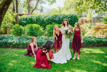 Mendocino County California Wedding | Redwood Wooded Wedding | Pronovia Bridal | Lace Wedding Dress | Destination Wedding Photographers | Seattle Wedding Photographers | Benbow Inn | Wedding Party | Wedding Posing |