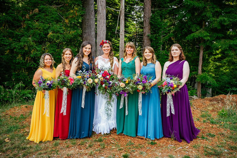 Trinity Tree Farm, Tacoma Washington, Tacoma Wedding Venues, Tacoma Wedding Photographer, Seattle Wedding Photographers, Snohomish Wedding, Groomsmen posing, Purple Bridesmaid dresses, Seattle Bride, LGBTQ Wedding