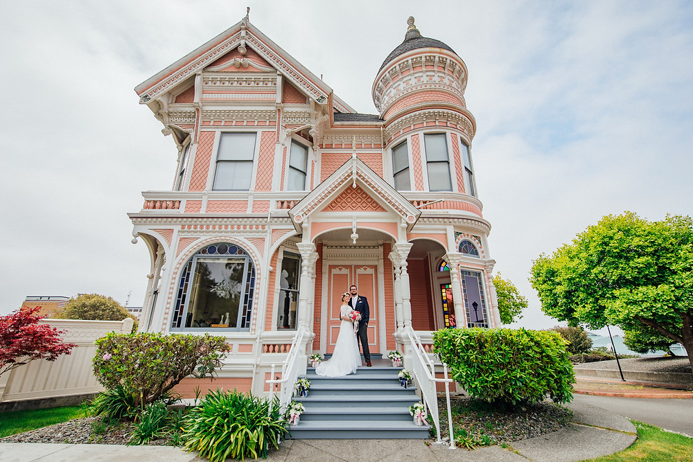 The Pink Lady | Seattles Best Wedding Photographer | Destination Wedding | Redwood Coast | PNW Wedding | PNW Bride | Victorian houses | Historic building | Ferndale Washington | Seattle Bride | Old Town Eureka |