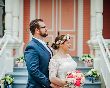 Romantic Washington Wedding | David's Bridal | Lace Wedding Dress | Vintage Wedding | Seattles Best Wedding Photographer | The Pink Lady | Destination Wedding | Old Town Eureka California | Flower Crown | Grooms Attire | Humboldt County |