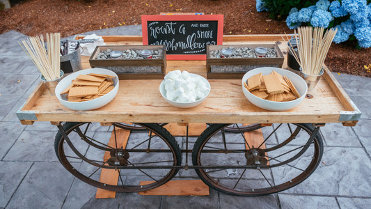 Wedding Cake Alternatives | Dessert Bar | S'mores at Wedding | Campfire | Camping Ideas | Redwood Wooden Wedding | Forest Wedding | Hersheys, Marshmellows, and Graham Crackers for the best nighttime campfire treat.  National S'more day is august 10th | Snohomish Wedding Ideas | PNW Wedding Reception Inspiration | Eureka California Venue | Seattle Destination Wedding Photographers