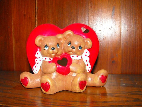 Cuddle Bears with heart vase