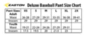 Easton Deluxe Baseball Pant Size Chart.P