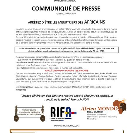 Appel à l'Unité entre africains et afro-descendants