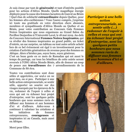 Editorial Africa Mondo Magazine, mai 2019