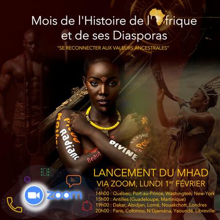 Lancement du Mois de l'Histoire l'Afrique et de ses Diasporas via Zoom, lundi 1er février