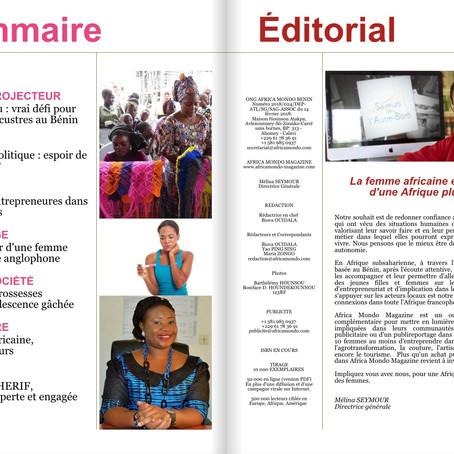 Éditorial Africa Mondo Magazine, parution du mois de septembre