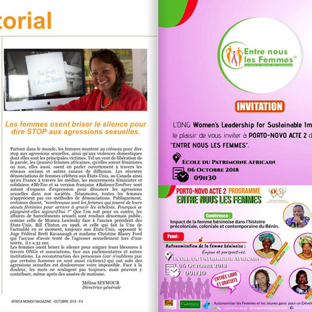 Africa Mondo Magazine, parution du mois d'octobre