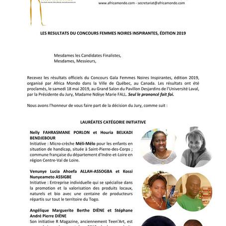 Les Lauréates du Concours International Femmes Noires Inspirantes, édition 2019