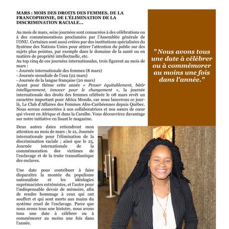Africa Mondo Magazine, parution du mois de mars