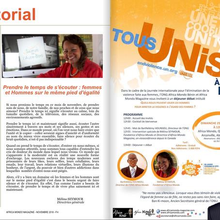 Africa Mondo Magazine, parution du mois de novembre