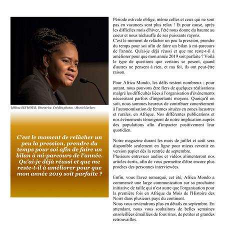 Éditorial Africa Mondo Magazine, juillet 2019