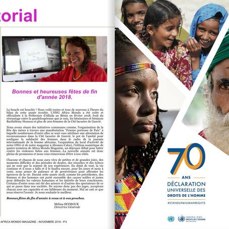 Africa Mondo Magazine, parution du mois de décembre