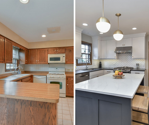 Comparison of a kitchen with bulkheads vs a kitchen without.