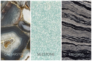 Countertop examples form 3 manufacturers: Caesarstone, Silerstone and Cambria