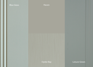Popular green paint colours for kitchen cabinet finishes.