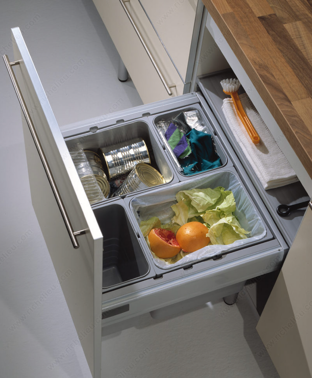 Kitchen Pull-out of compost and recycling bins.