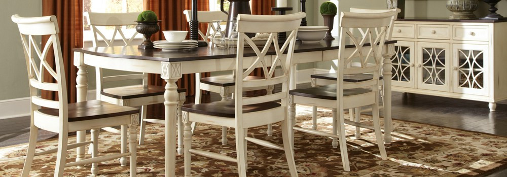 Dining room table set white and wood two tone