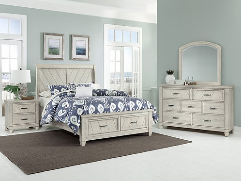 Rustic Cottage Sleigh Storage Bed (Queen)