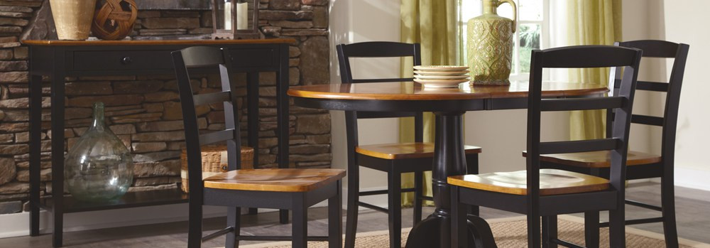 Black and wood kitchen table set from Tri City Furniture