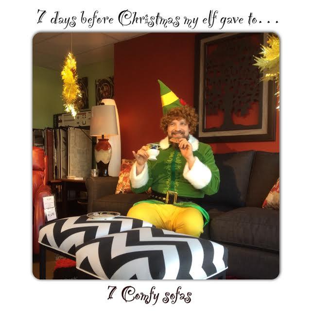 Buddy the Elf on a Comfortable Sofa