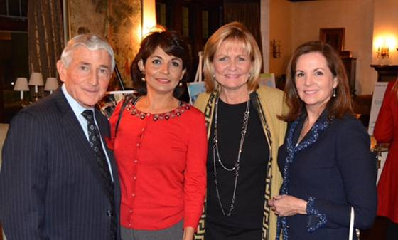 In Photo Left to Right: Attorney Ira Jaffe, EduMobile founder, Rebeca Perez, Katana, and Beyond Basics founder, Pam Good at a fundraiser hosted by Paddy Lynch in Detroit, MI