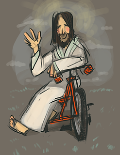 Bikes For Christ Contact Page - Jesus on a tricycle