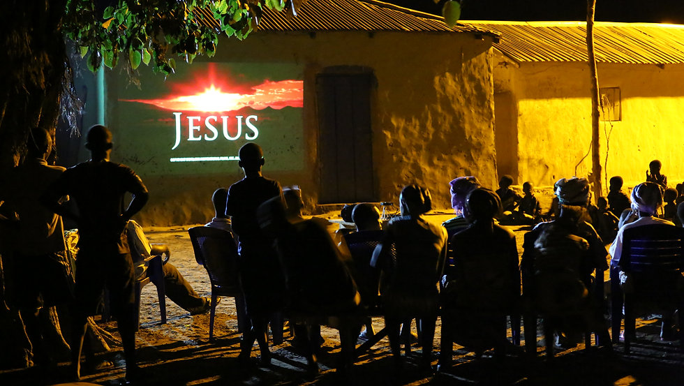 African Village Wathcing Jesus Film