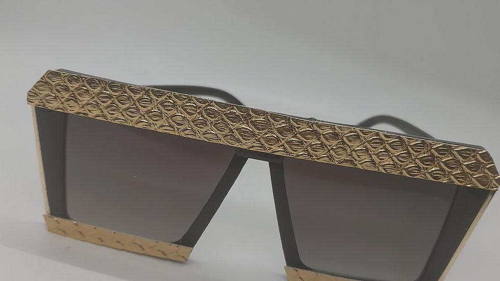 gold snake skin leather sunglasses