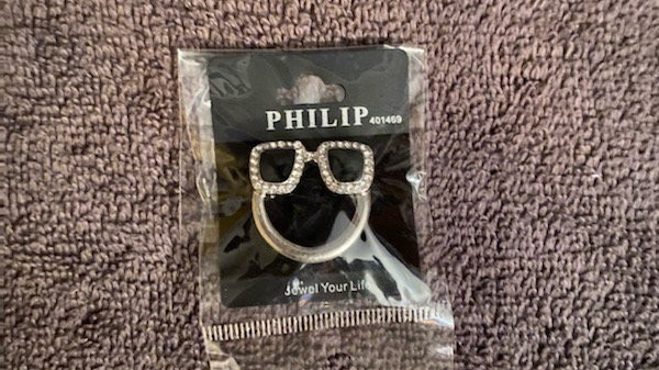 Square bling eyewear pin holder