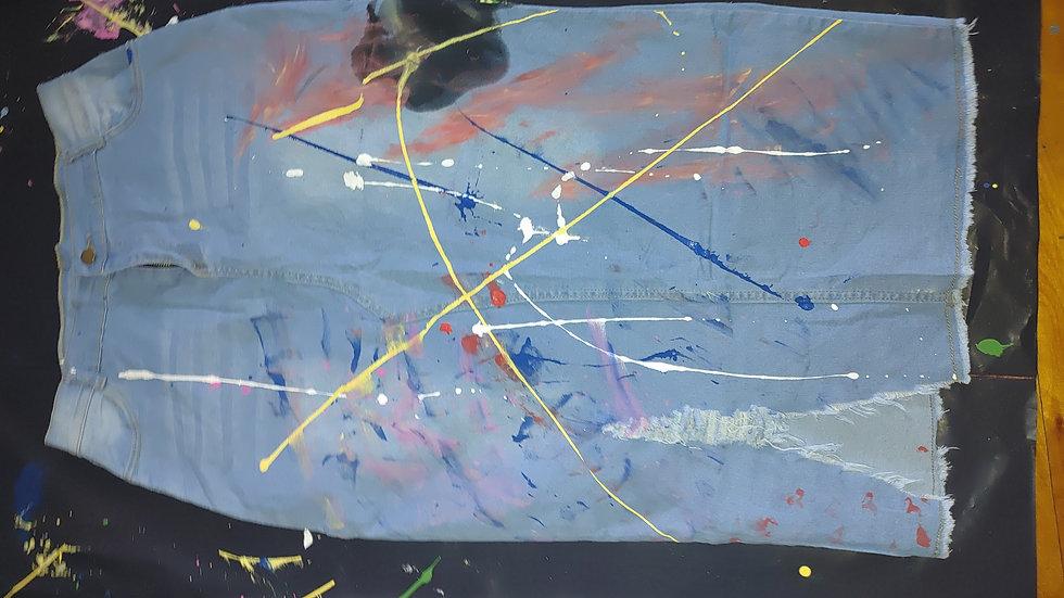 Denim Paint Splatter skirt