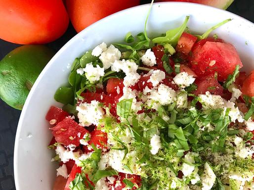 Salade estivale au melon d'eau et aux tomates