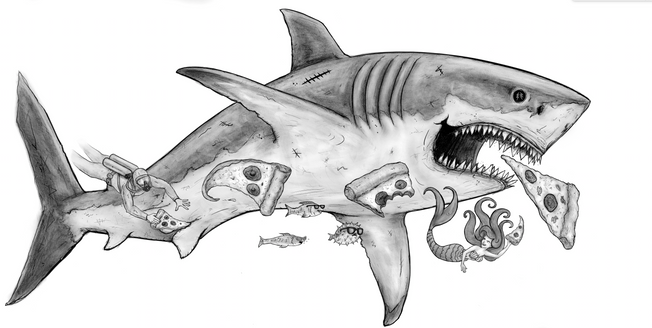 pizza shark drawing