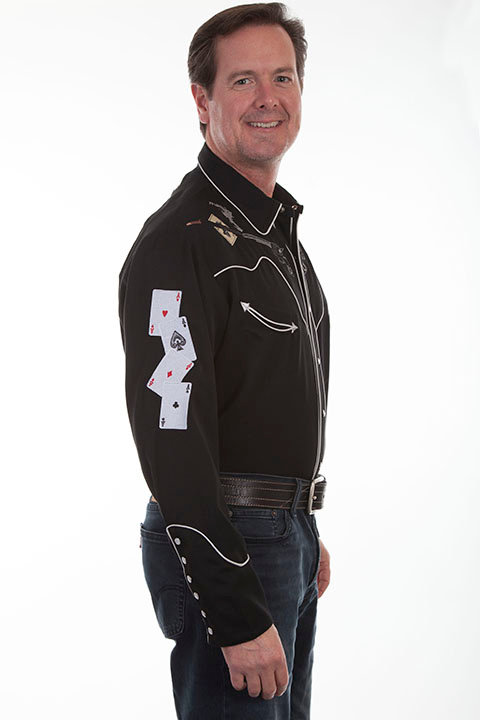 Scully Guns & Aces Embroidered Shirt
