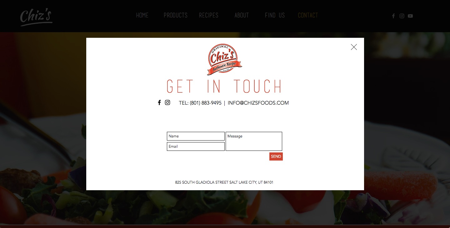 Chiz's Foods Website Design