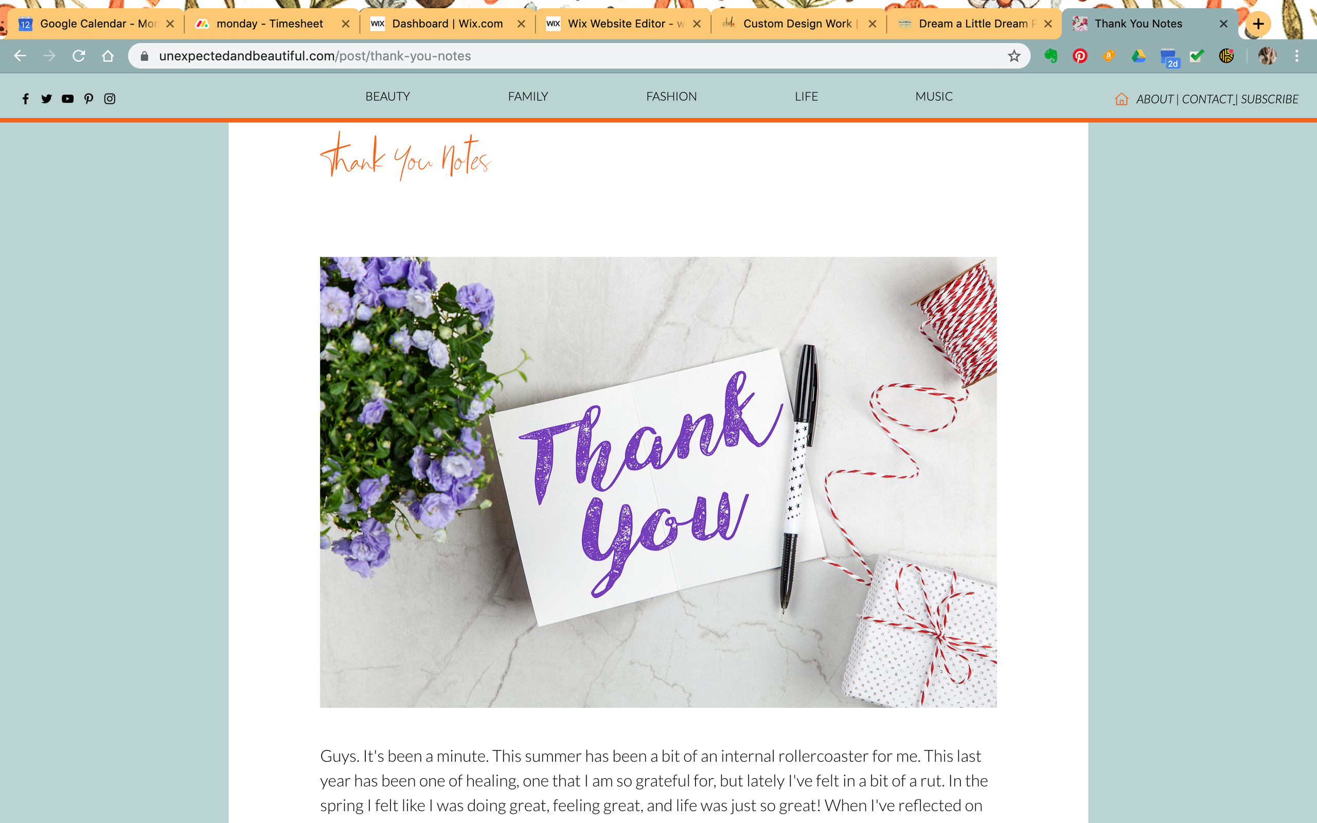 Unexpected and Beautiful Blog Design