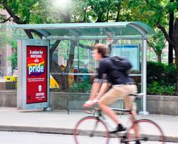 Unifor pride bus shelter