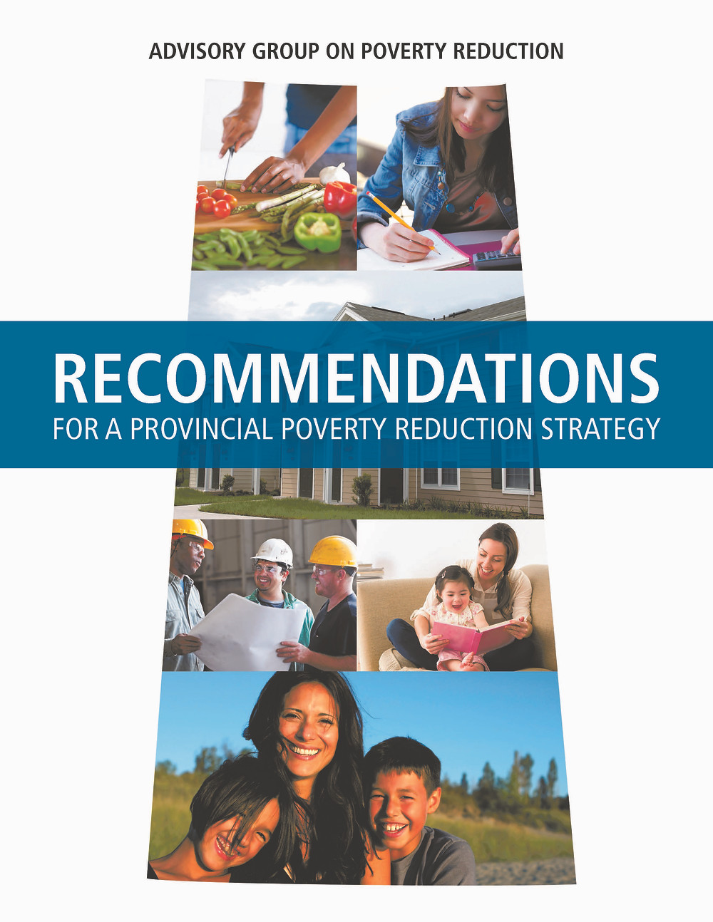 The report cover for the Advisory Group on Poverty Reduction.