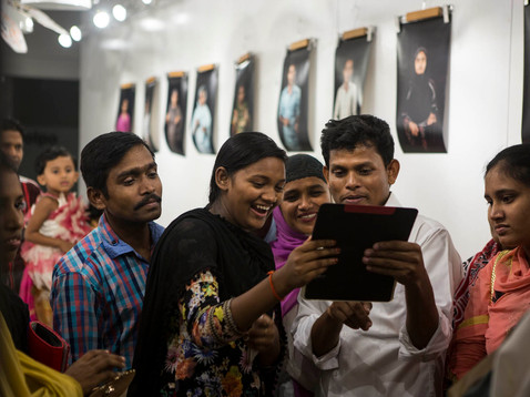Garment workers at the EMK Centre in Dhaka