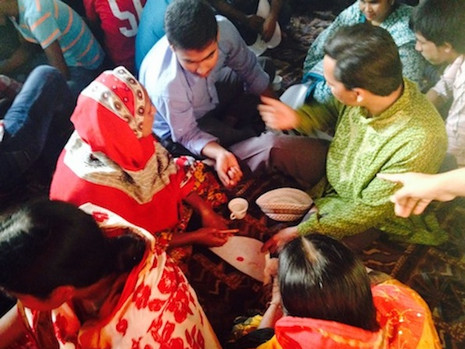 Petal making workshop in Dhaka, with Leah Houston