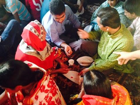 Petal making workshop in Dhaka, with Leah Houston