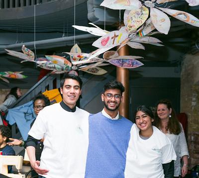 T shirts made in the mock sweatshop art installation