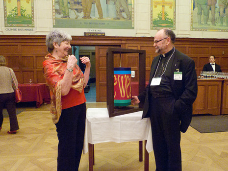 Artist Robin Pacific with Rev. Brent Hawkes