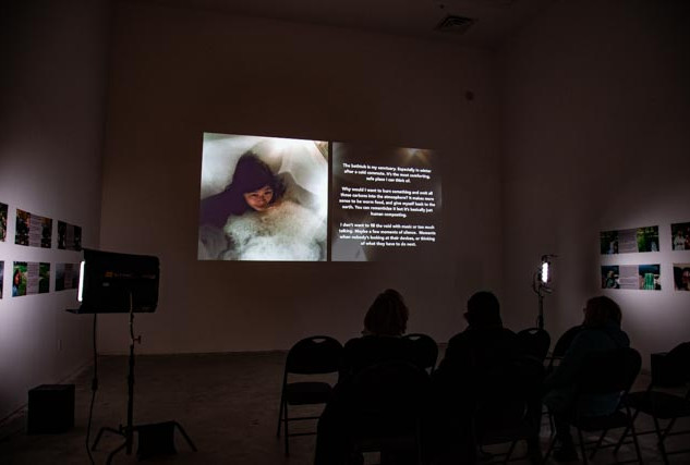 The installation with video and prints