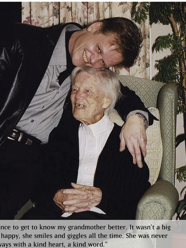 Drew Carter with his grandmother