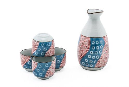 Blue/Red Flower Sake Set